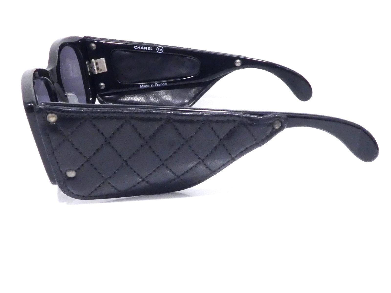 ca28752381 Authentic CHANEL Leather Plastic Sunglasses Eyewear Black Made in ...